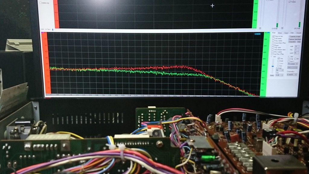 TEAC C-2X バイアス調整前のホワイトノイズのスペクトル