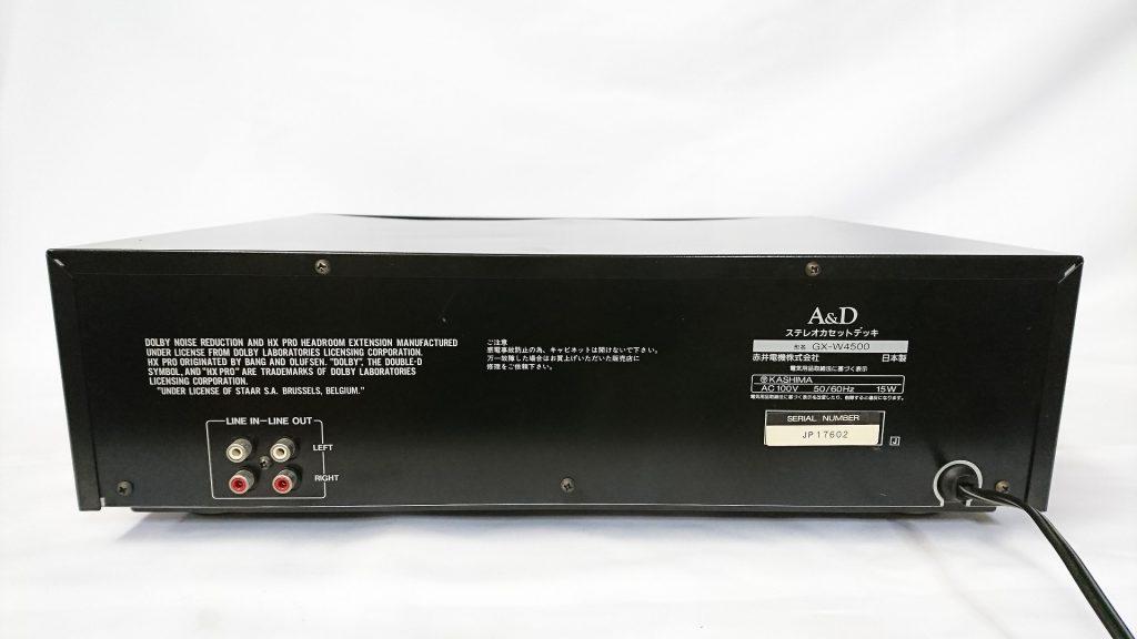 A&D GX-W4500 デッキ背面